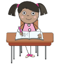 Girl with pigtails sitting at desk writing in notebook.